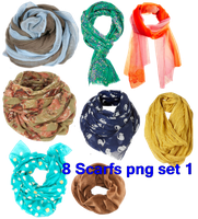 8 Scarfs's png Set 1 by JEricaM
