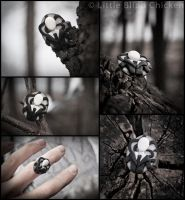 Slender Man polymer clay ring by Little-Blind-Chicken