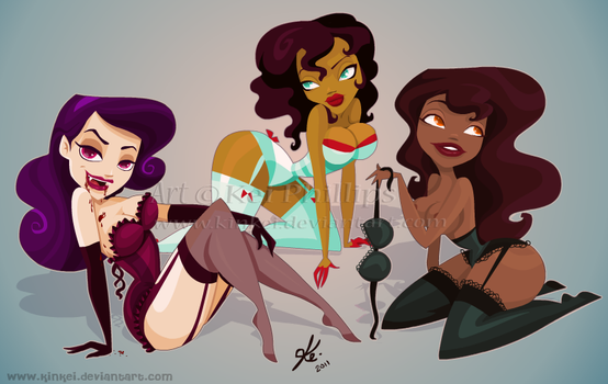 Val, Toree and Deziree by kinkei
