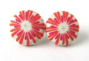 Stud earrings tangerine red pink white gray bright by KooKooCraft