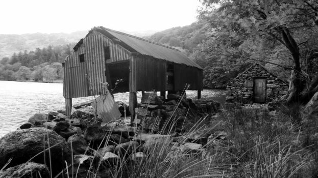Old boat house B+W by Paul-Madden