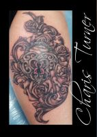 Heart Locket and Roses Tattoo by Metacharis