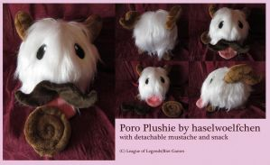 Poro Plushie with mustache and snack by haselwoelfchen