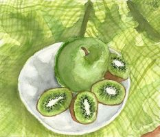 Green Kiwis, Green Apple by Tabascofanatikerin