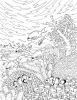 Adult Coloring Book Illustration by Protoguy