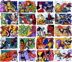Women Of Marvel puzzle sketch cards 1-20 by mdavidct