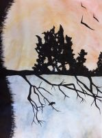watercolour of a tree by JoJoLaker91