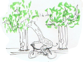 Giraffe makes a bike by Nyu-teamind