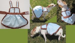 blue and brown puppy dress by Plushypuppystudio