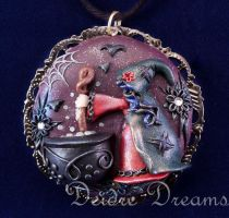 Cauldron Bubble Witch Wicca Goth Halloween Pendant by DeidreDreams