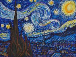 Starry Night in Oil Pastels by davepuls