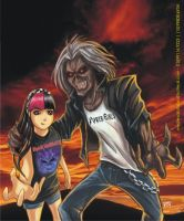 Iron Maiden Eddie with little girl CACAU by FABIOMETALCORE