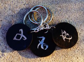 City of Bones Mortal Instruments Leather Keychain by tifa03