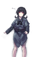 A German female soldier who wears Zeltbahn ONLY. by someone1fy