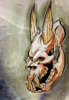 horned skull by heckthor