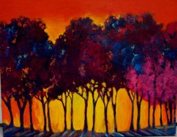 Sunset Trees by terriwilson