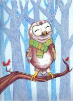 Happy Little Winter Owl by Pooky-di-Bear