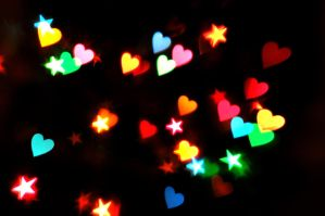 Heart + Star Bokeh Texture 1 by LDFranklin