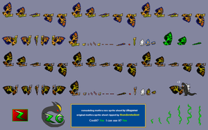 Remodeling Mothra Nes Sprites by zillagamer