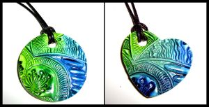 Blue and green pendants by valenceleclerc