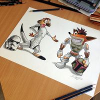 Storm trooper Timon and Crash Boba Fett by AtomiccircuS