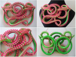 LS 13 Kitty's Lime and Pink tentacles by KTOctopus