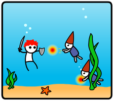 Battling Aquatic Fire Gnomes by ZeekNyne