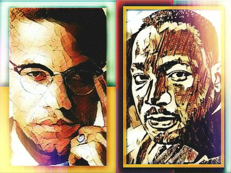 Malcolm X and Dr. Martin Luther King Jr. by BlueWindSSK