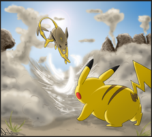 .:Catoleon VS Pikachu:. by Frozen-Wing