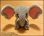 3D Modular Origami Elephant Front View by UNSJN