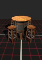 Low Poly Bar Table and Stools by EliteRocketbear