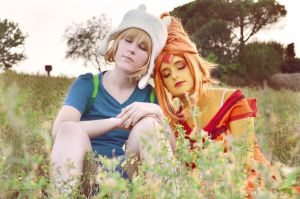 Adventure Time  Finn And Princess Flame By Yu by Mugi-Cosplay