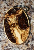 Pyrography - Doe Keyring by BumbleBeeFairy