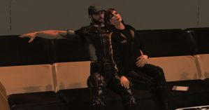 Mass Effect 3: Joker and Femshep Relaxing by Lootra