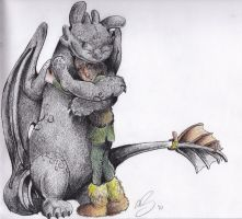 Toothless and Hiccup by SharpDressedReptile