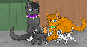 Scourge, Emberpelt and their kits by CascadingSerenity