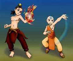 Zuko and Aang, Wakfu pose by Bizmarck
