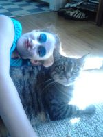 melody and my fat kitty by FLAMELEELOVER200