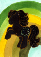 Green and Gold Silhouette ATC by midori-no-ink