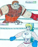 Boxing Juggernaut vs Power Girl by Jose-Ramiro