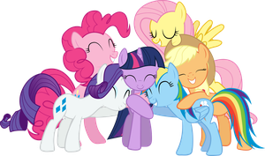 Mane 6 Group Hug by Silentmatten