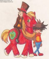 Layton and Badger in Ponyville by SamCyberCat