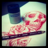 Skull/Roses Flash Sketch by BlvqWulph