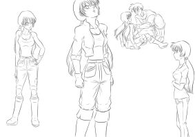 Character Concept - Future Videl (lineart) by MissKisa
