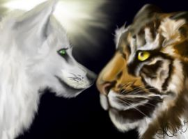 Wolfie and tiger portrait by TilSunlightDies