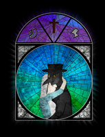 OC Couple Stained Glass Window - Carlos and Ana by Lagoon-Sadnes