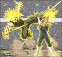 -DBM- Trunks VS Vegeta by DBZwarrior