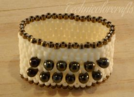 Beaded Brown Ring by technicolorcrafts
