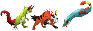 Amber and Chrome Starters Final Evos by T-Reqs