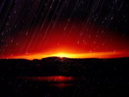 Rainy Red Sunset by iBeci